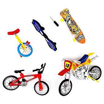 Mini Finger Fahrrad Motorrad Set Fahrrad Griffbrett DIY Kreatives Spiel Skateboard