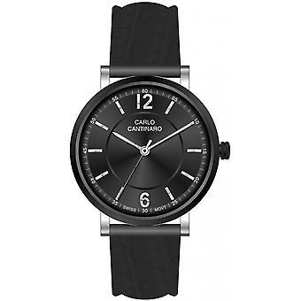 Carlo Cantinaro Black Genuine Leather CC1003GL005 Men's Watch