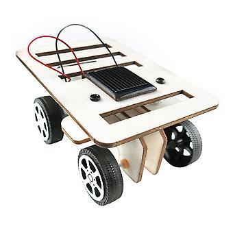 Diy Mini Wooden Car Model Solar Powered Kit Children Educational Toy Gift