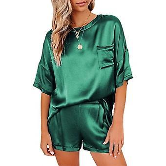 Laza és kényelmes kétrészes szatén pizsama-zöld