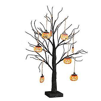 صغير أسود بريق هالوين شجرة ضوء مع 24 البرتقال Leds البطارية تعمل مضاءة شجرة عرض اليقطين مخيف لتزيين الحزب (60cm/2ft)