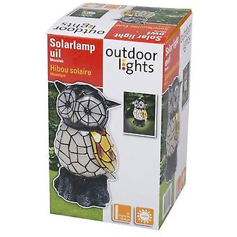 Solar Light Garden Owl Shaped Mosaic Polyresin Decoration Ornament