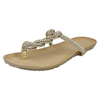 Ladies Spot On Flat Toe Post Sandals With Twisted Diamante Strap
