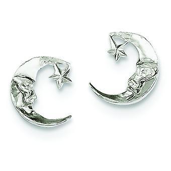 925 Sterling Silver Solid Polished Post Earrings Celestial Moon Mini for boys or girls Earrings
