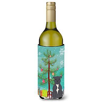 Merry Christmas Tree Staffordshire Bull Terrier Blue Wine Bottle Beverge Insulat