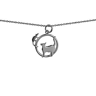 Silver 20x17mm Cat looking left and Mouse in a circle Pendant with rolo Chain 24 inches