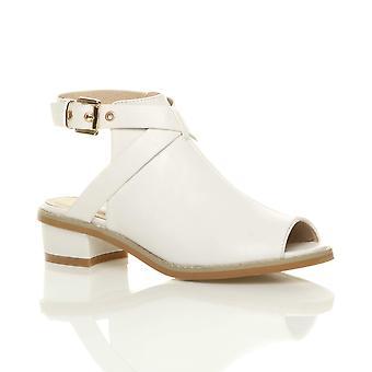 Ajvani damskie niskie średnie bloku pięty peep toe klamra paska buty sandały trzewiki