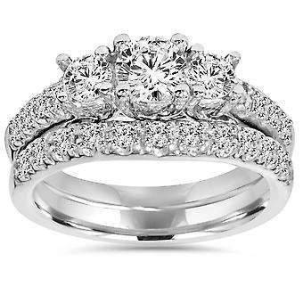 1 5/8 ct ダイヤモンド 3 石指輪・一致する結婚指輪 14 K ホワイトゴールド