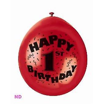 "'HAPPY 1 BIRTHDAY' 9"" Latex ballonnen (10)"