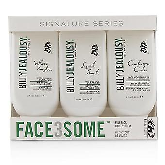 Billy Jealousy Face3some Kit: Face Moisturizer 88ml + Exfoliating Facial Cleanser 88ml + Gentle Daily Facial Cleanser 88ml - 3pcs