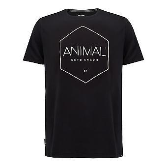 الحيوان Longtide قصيرة الأكمام تي شيرت باللون الأسود