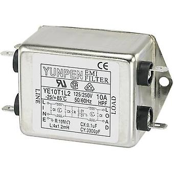 Yunpen YE10T1L2 EMI filter 250 V AC 10 A 1.2 mH (L x W x H) 75 x 51 x 37 mm 1 pc(s)
