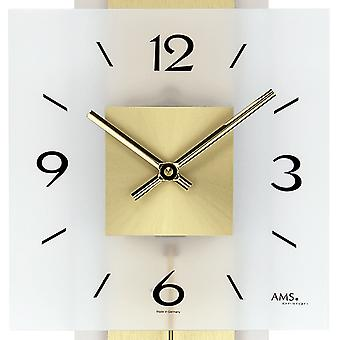Wall clock quartz pendulum clock wood brass 68 x 22 cm AMS mineral glass