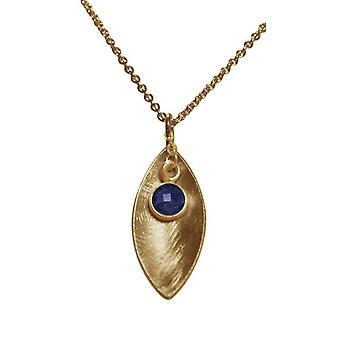 السيدات-قلادة-قلادة-925 الفضة-الذهب مطلي-ماركيز-الياقوت--الأزرق-45 سم