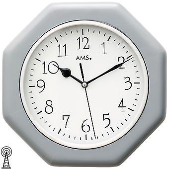 AMS 5511 wall clock radio radio controlled wall clock analog wood enclosure grey octagonal