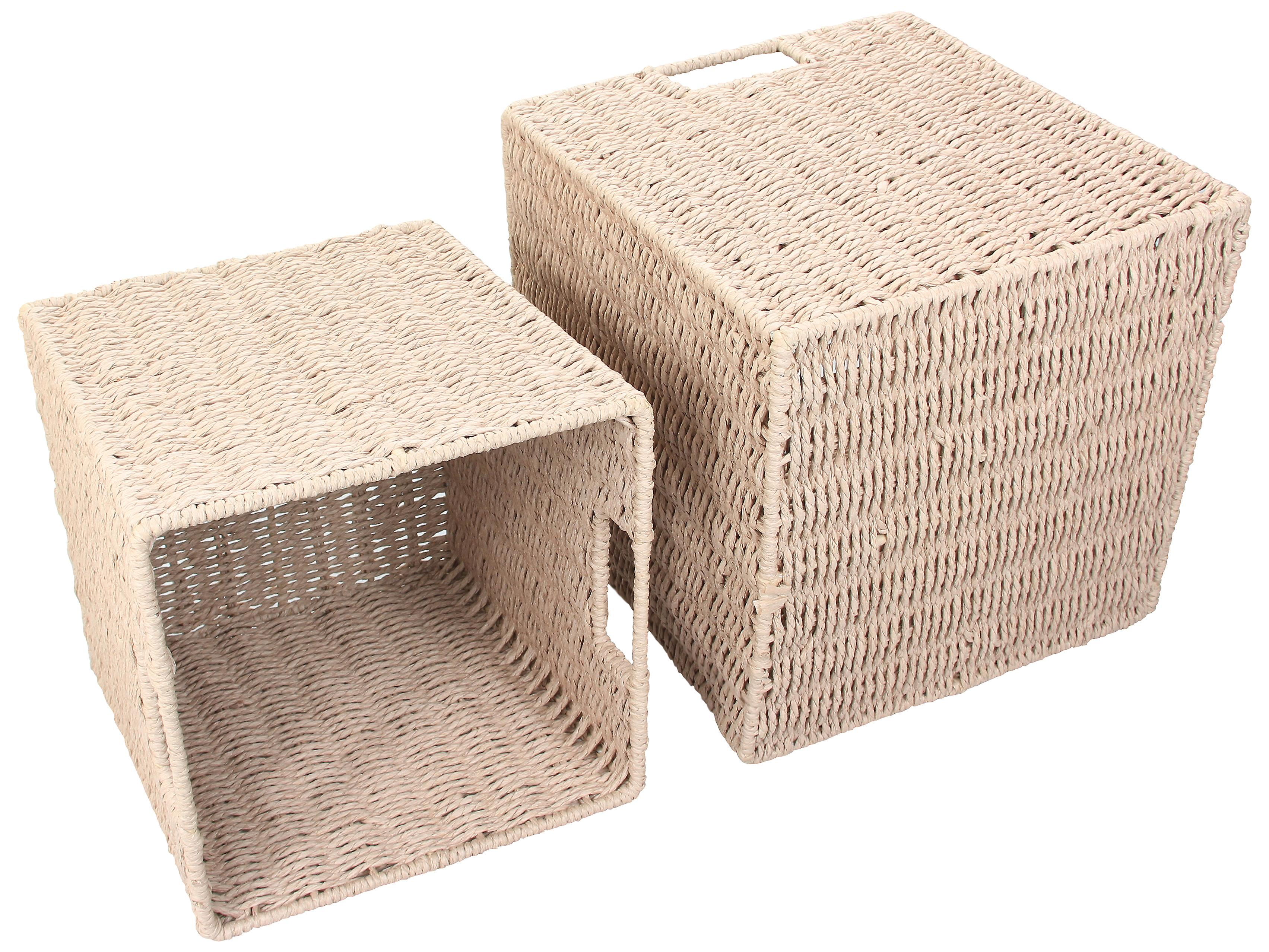 Natural Paper Rope Storage Baskets (Warm Grey, Set of 2)