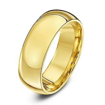 Anéis de casamento estrela 9ct ouro amarelo Heavy tribunal forma aliança 7mm