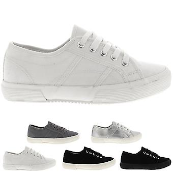 Womens Flat Casual Fashion Pumps Festival Work Shoes Lace Up Trainers UK 3-10
