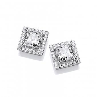Cavendish French Deco Style Square Cubic Zirconia Halo Earrings