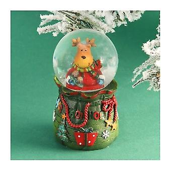 Reindeer In A Gift Bag Snow Globe