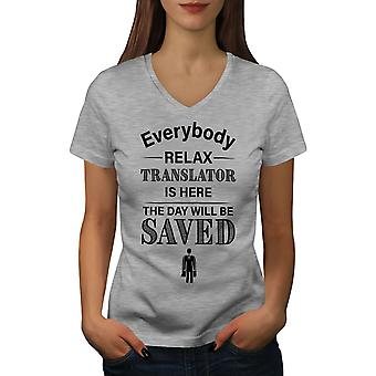 Translator Job Women GreyV-Neck T-shirt | Wellcoda