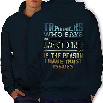 Trust Issues Gym Men NavyHoodie Back | Wellcoda