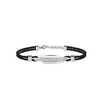 MASERATI - bracelet - men's SIGNATURE steel leather - JM417AKW09