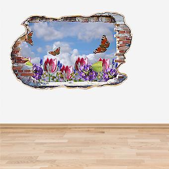 Full Colour bloemen en vlinders Smashed muur 3D Effect muur Sticker
