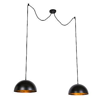 Lampade da appendere Industriali QA-QA nero con oro 35 cm 2 luce - Magna Basic