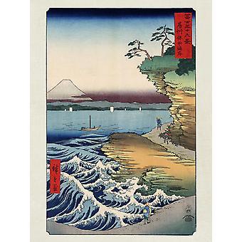 Hiroshige afdrukken van de kust bij Hota in Awa provincie papier van 250 gr. Matt