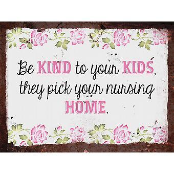 Vintage metalowy znak ściana - Dbaj o dzieci