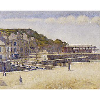 Sataman en Bessin silta ja Seawall, Georges Seurat, 50x40cm