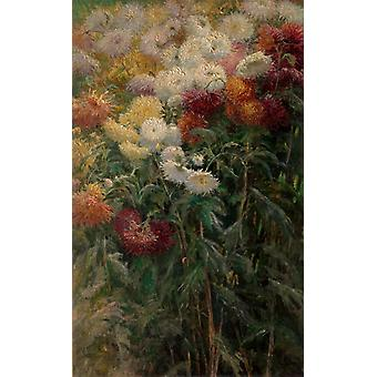 The chrysanthemum in the garden,Gustave Caillebotte,60x37cm