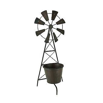 Dificultades Metal granja jardín molino de viento enrejado plantador con maceta