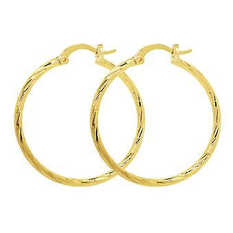 Ah! Jewellery Twist Textured Design Hoop Earrings. Gold Filled, Stamped GL