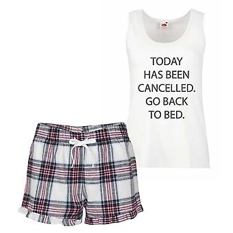 Today Has Been cancelled Go Back to Bed Pink Tartan Pyjamas