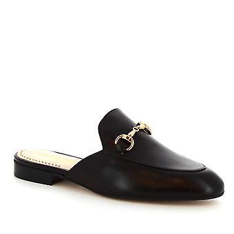 子牛革でレオナルドの靴女性の手作りビット ミュール靴