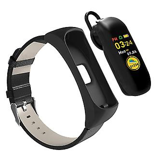 Bluetooth connected Android and iOS Touch Screen Cardio Watch + headset - Black