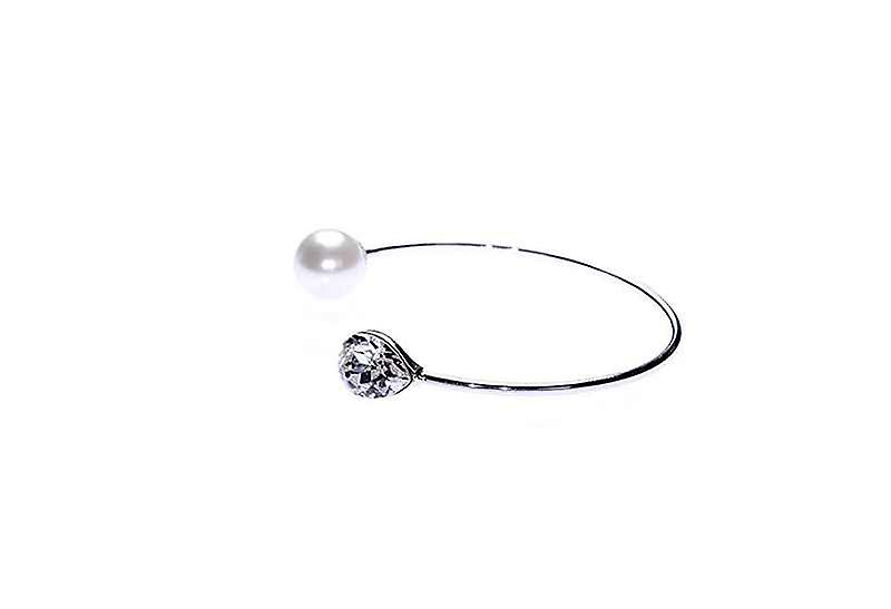 Give Me Diamantes and Faux Pearls Open Cuff Bangle Bracelet