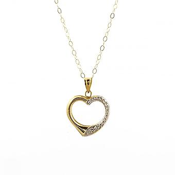 Eternity 9ct 2 Colour Gold Open Heart Pendant And 16'' Trace Chain