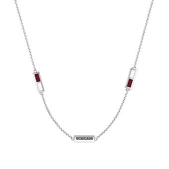 University Of Chicago Sterling Silver Engraved Triple Station Necklace In Maroon and White