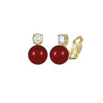Eternal Collection Timeless Coral Red Shell Pearl & CZ Gold Tone Stud Clip On Earrings