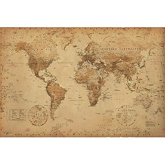World Map Antique Style Maxi Poster 61x91.5cm