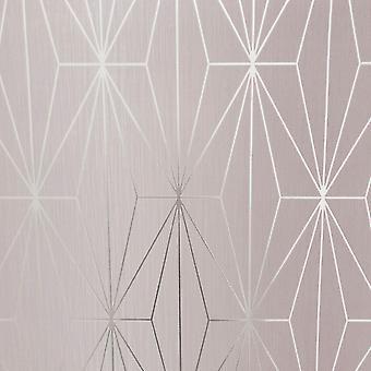 Blozen roze zilver metallic geometrische wallpaper driehoeken vinyl Muriva Kayla