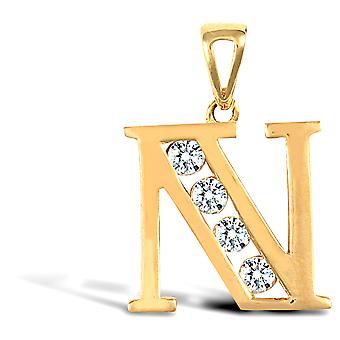 Jewelco London Solid 9ct Yellow Gold White Round Brilliant Cubic Zirconia Identity Initial Charm Pendant Letter N