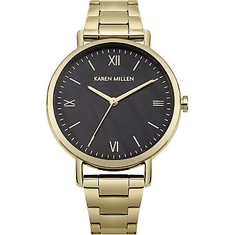 Karen millen mother of pearl Quartz Analog Woman Watch with KM159BGM Gold Plated Stainless Steel Bracelet