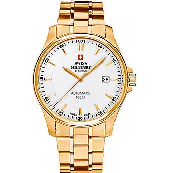 Swiss Military Automatic Analog Man Watch with SMA34025.04 Gold Plated Stainless Steel Bracelet