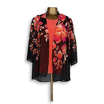 Susan Graver Donne's Maglione stampato Chiffon Cardigan & Tank Rosa A301149