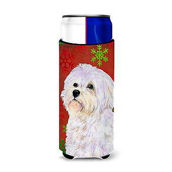 Maltese Red and Green Snowflakes Holiday Christmas Ultra Beverage Insulators for