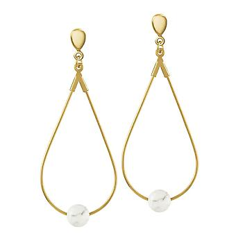Eternal Collection Eclectic White Howlite Gold Tone Drop Teardrop Hoop Clip On Earrings